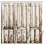 InterestPrint Old Vintage Wooden Door with White Paint Garage American Style Decorations for Bathroom Print Vintage Rustic Theme Decor Bathroom Shower Curtain, 72 X 72 Inches