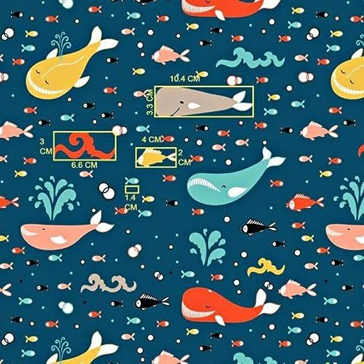 Pingianer - Tela de algodón para niños, 100 % algodón, por metros, artesanía, tela de costura, diseño de ballenas, Wal multicolor en azul oscuro., 100x160cm (11,99€/m): Amazon.es: Hogar