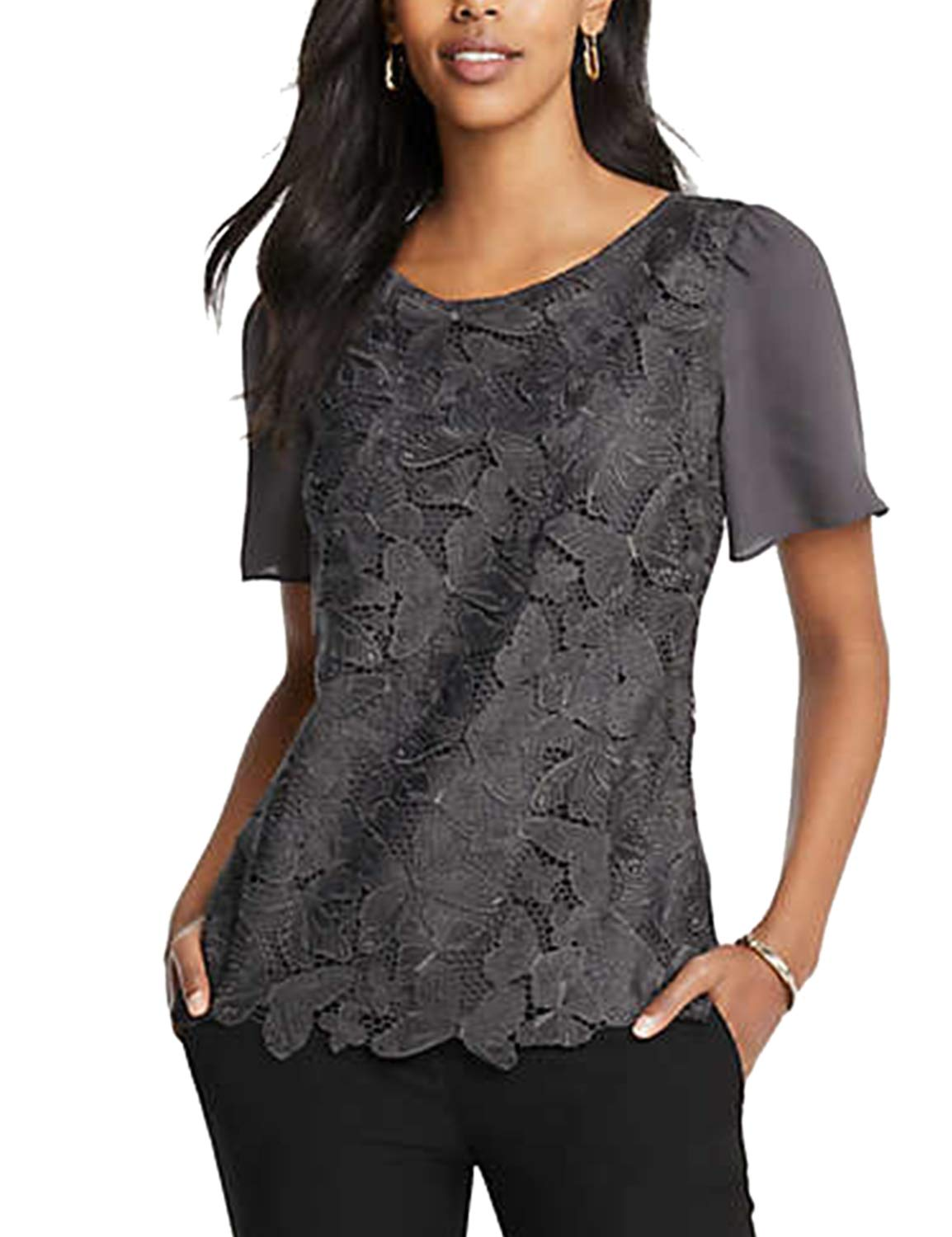 Blooming Jelly Womens Lace Top Chiffon Casual Tops Short Sleeve T Shirts Butterfly Tee Shirt Grey