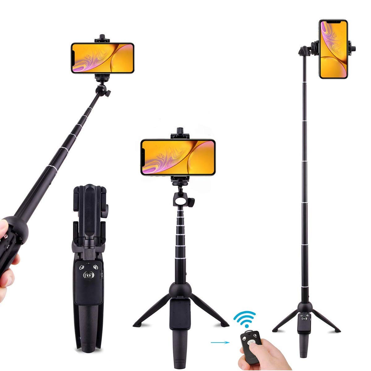 Selfie Stick Bluetooth,All-in-One Professional Cell Phone Tripod Stand 40 Inch Extendable with Wireless Remote Camera Shutter Compatible with iPhone Samsung iOS Android Huawei and More