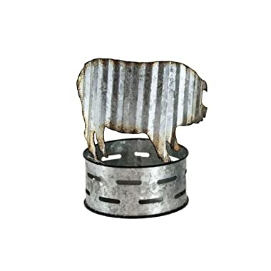 OBI Galvanized Metal Pig Tray Candy Dish Candle Holder - Farmhouse Country Rustic Home Decor Accessory Birthday Housewarming Gift