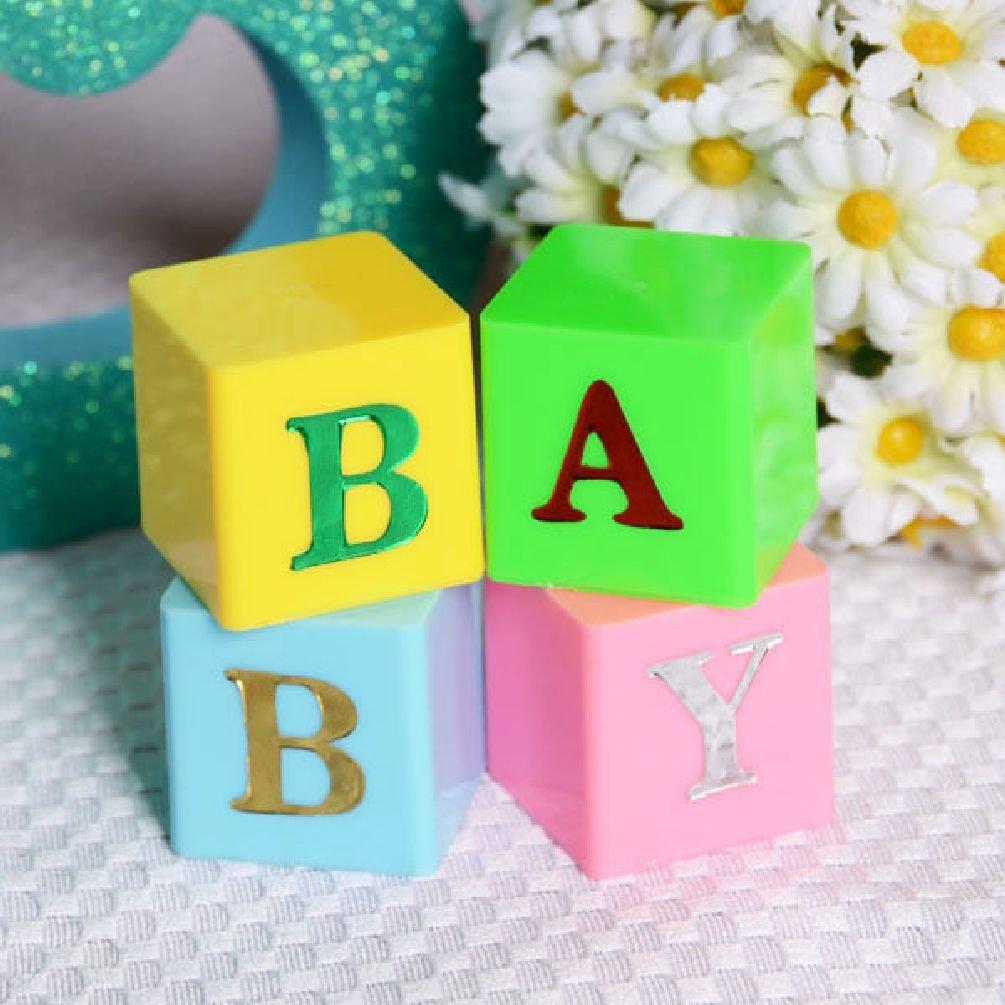Dorigan home series Set Of 4 Baby Blocks Multi Color Blue Pink Letter Blocks Baby Shower Centerpiece