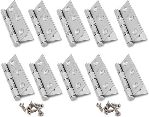 Bisagras de Acero Inoxidable,10 Piezas Bisagra de Puerta con 60 Tornillos para Puertas de Ventana de Muebles para el Hogar