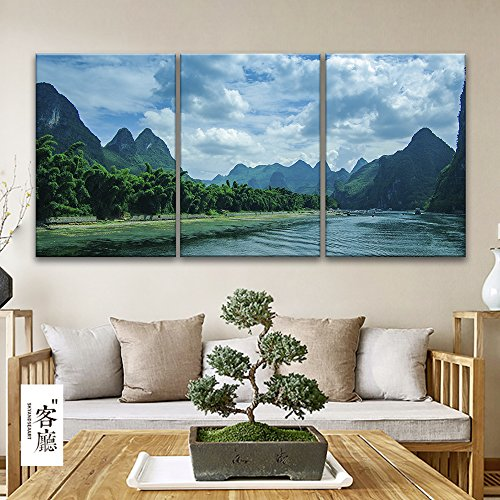 3 Panel Mountain Landscape with Green Plants and Clear River x 3 Panels