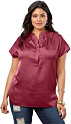 7975560db157a Roamans Women s Plus Size Satin Cap-Sleeve Shirt