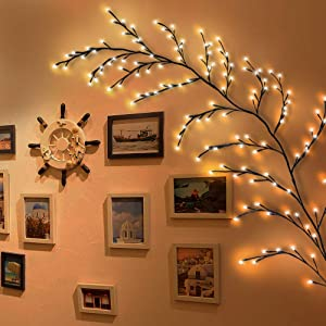 Kapata Home Décor Artificial Plants Flowers Tree Willow Vine Lights 144 LEDs for Walls Bedroom Living Room Decorative
