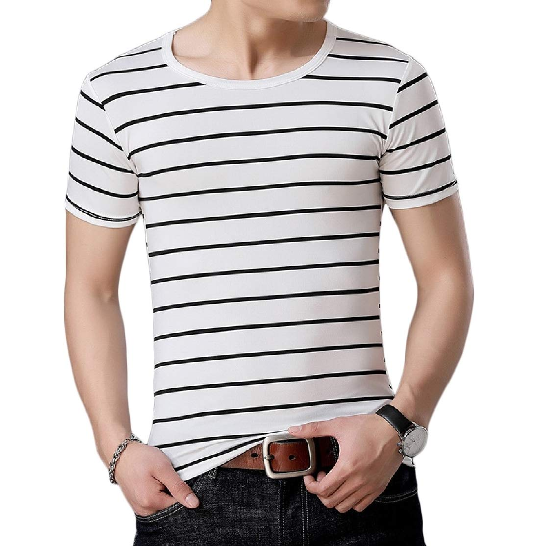 Comaba Men Summer Striped Breathable Short Sleeve Tshirt Tops Tees