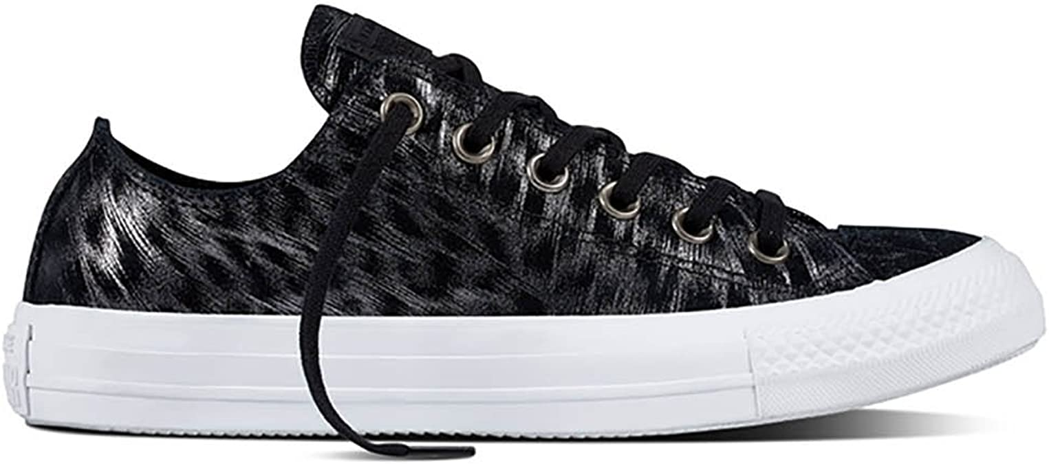 Converse Chuck Taylor all Star Shimmer Suede Ox BlackBlackWhite Sneakers Donne NeroBianco Sneakers Basse