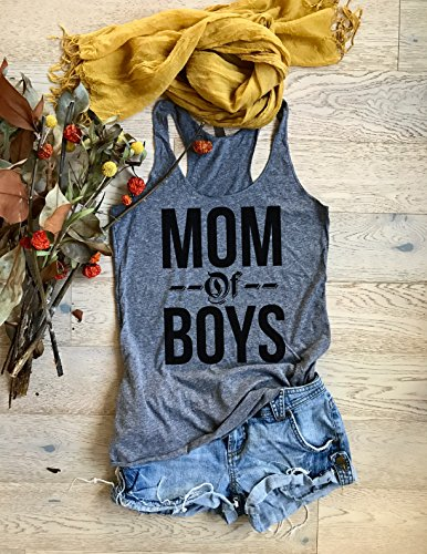 Mom Of Boys. Eco Tri-Blend Racerback Tank. Women's Clothing. Mom Shirt. Tank Top. Tank Tops. Mom's Tank Top. Mother's Day Tank.