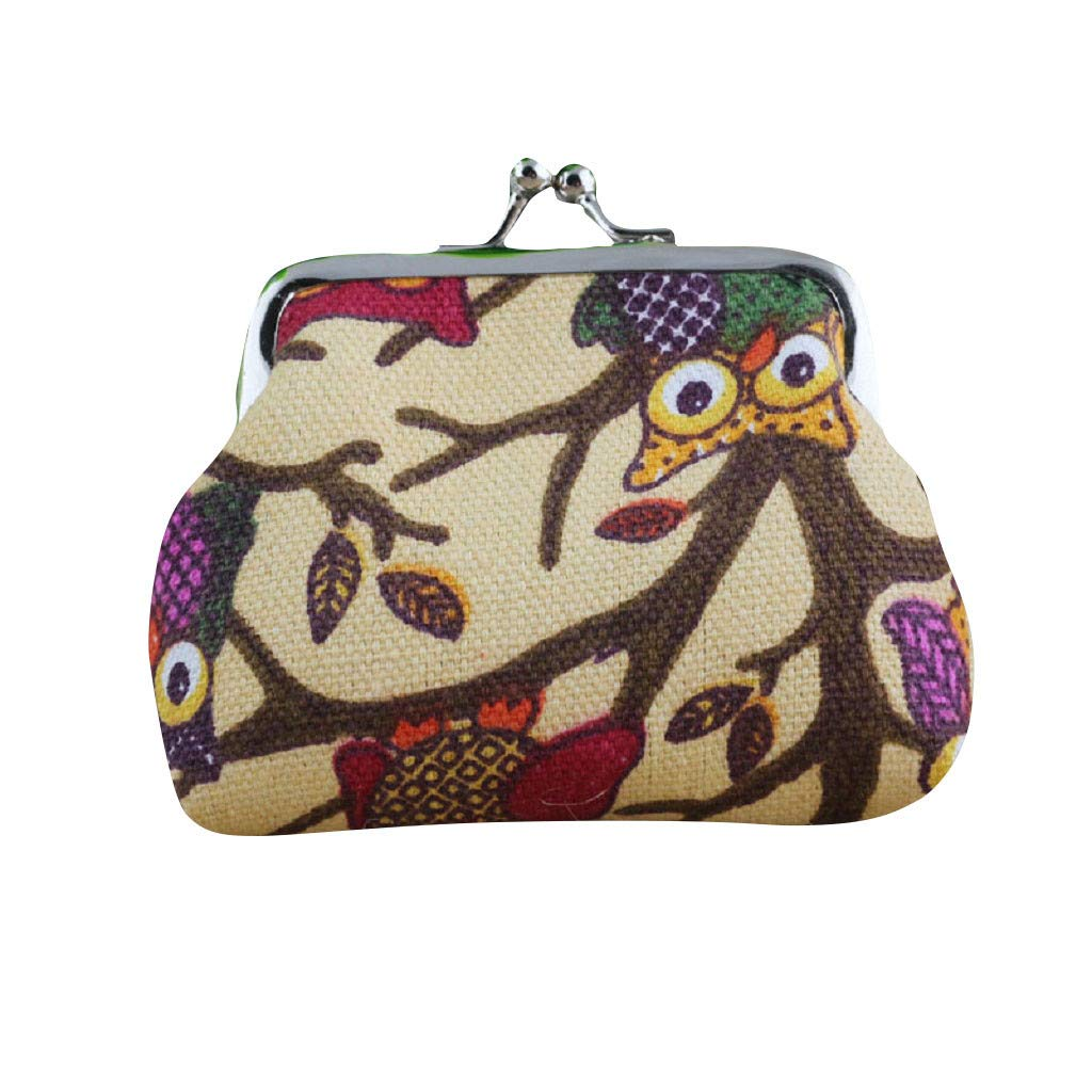 Wallet,yijiamaoyiyouxia Fashion Vintage Women Lovely Style Small Coin Pockets Wallet Hasp Owl Purse Clutch Bags Handbags (B)