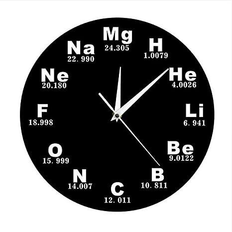 Shuangklei Elementos Químicos Reloj De Pared Periódico Diseño Moderno Símbolos Químicos Biología Reloj De Pared Reloj
