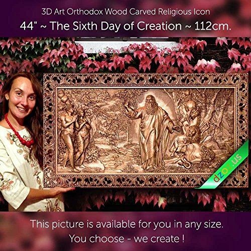44'' The Sixth Day of Creation 112cm Wood carved 3D painting icon orthodox art by Wood Carving Dzoz