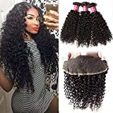 Klaiyi Hair 10A Brazilian Curly Virgin Hair Weaves 3 Bundles with 1pc 13x4 Ear to Ear Full Lace Frontal Closure, unprocessed human hair extensions (20 22 24+18, Free Part Frontal)