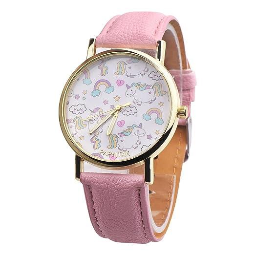 Funique - Reloj de pulsera de cuarzo con diseño de dibujos animados y flores, esfera analógica, correa de piel sintética rosa: Amazon.es: Relojes