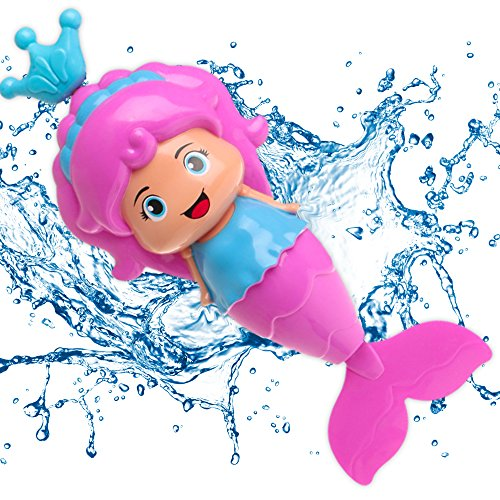 Conquer Baby - Bath Toys for Toddlers Kids Girls - Mermaid Princess Wind Up Tail Flap Floating Water BathTub Toys, Swimming Pool Beach Bathing Time Fun - Random Color 1 Piece ()