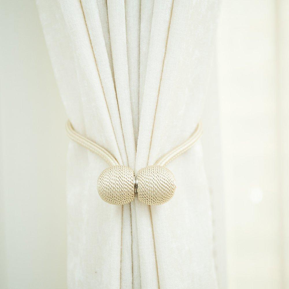 JISEN Window Curtain Tiebacks Clips Headset Shape Creative Magnetic Buckles Home Office Decorative Holdbacks Pack of 2 Beige