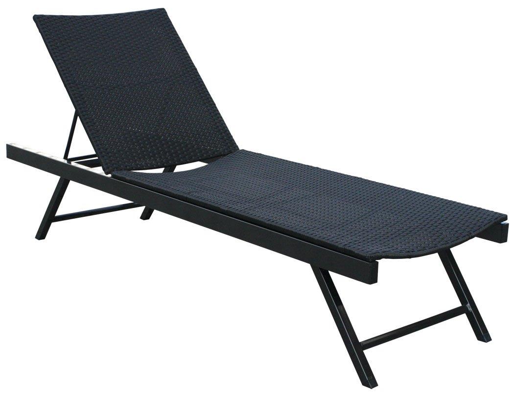 KMH®, Polyrattan Sonnenliege Gartenliege Relaxliege Freizeitliege(4 String) (#106137)