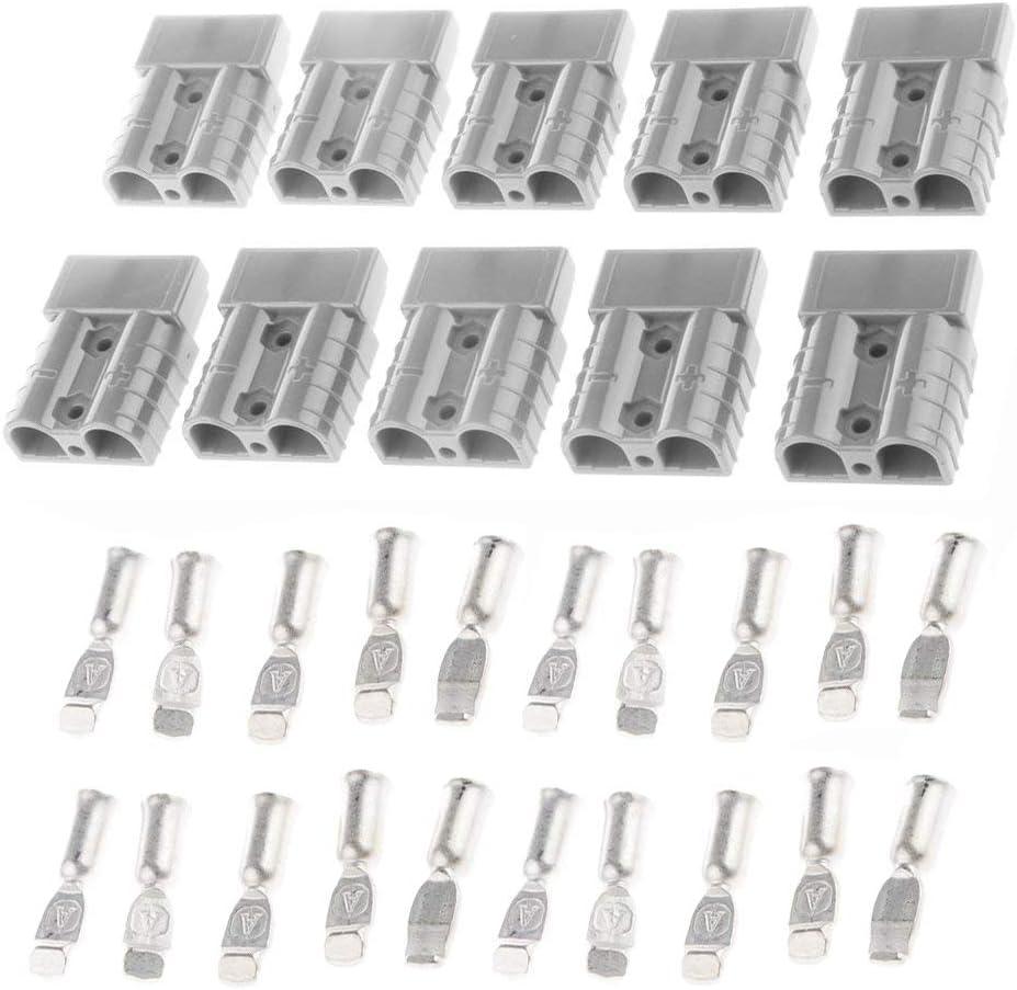Gaoominy 10Pcs 50A 600V 8Awg Batterie Schnell Winde Anschluss Stapler Verbinden-Grau