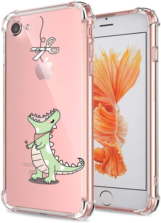 iPhone 7 8 SE 2020 Case Cute Clear with Design Funny Dinosaur Cartoon Animal Pattern Print Protective Case for Apple iPhone 7 8 iPhone SE 2020, ...