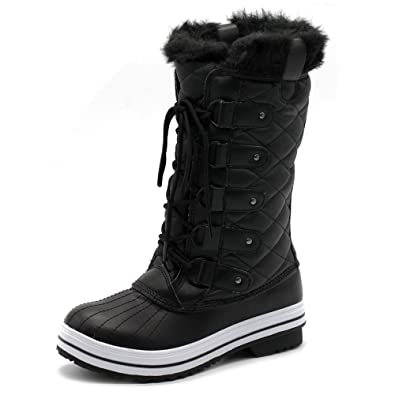 Women's Shoe Lace Up Quilted Fur Snow Duck Boots