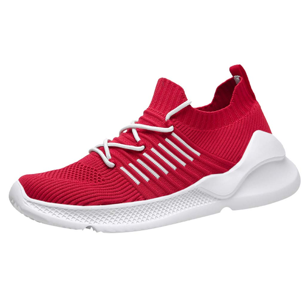 High Top Sneakers for Men ✔ Men's Summer Casual Breathable Running Shoes Breathable Mesh Travel Sneakers Red