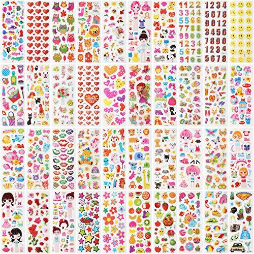 - Zooawa Kids 3D Puffy Stickers, [40 Sheet] Children Lovely Art Sticky Plaything Including Figure, Flowers, Small Fish, Birds, Fruits, Daily Necessities Patterns, Colorful