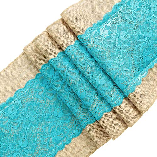 (ARKSU Turquoise Burlap Table Runner,12 by 72 inch No-fray Jute Hessian Vintage Rustic Natural Wedding Christmas Country)