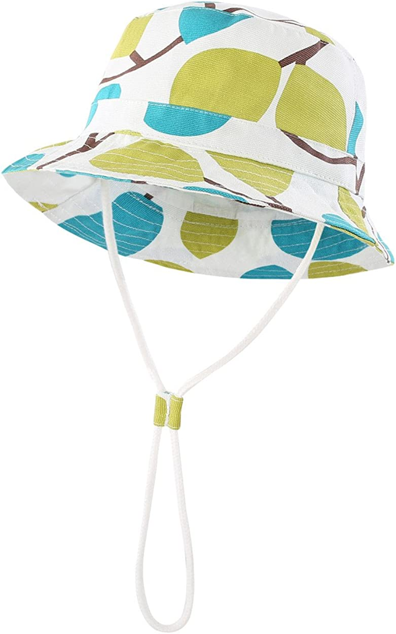 Magracy Toddler Kids Sun Hat Foldable Sun Protection Beach Hat Cotton Bucket Hat with Chin Strap
