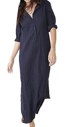 WOZNLOYE Sommer Damen Shirt Kleider mit Schlitz Freizeit Locker Lang Kleid  Blusenkleider Strandkleider Mode Langarm Leinen 9f70078ae9