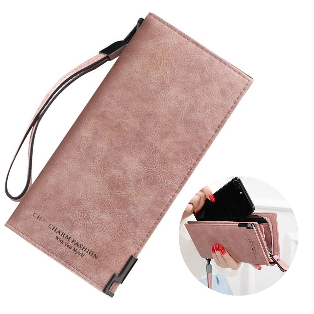 Women's RFID Blocking Leather Wallet Large Capacity Clutch Purse Phone Coin Cash Credit Card Holder Organizer with Removable Wrist Strap (Pink)