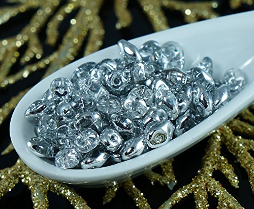 20g Metallic Crystal Labrador SuperDuo Czech Glass Seed Beads Two Hole Super Duo 2.5mm x 5mm
