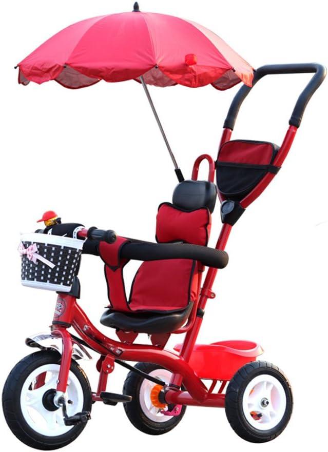 BZEI-BIKE Carritos de Triciclo para Niños Carruajes de bebé Bicicletas para Niños 3 Ruedas, Bicicleta roja (Niño/Niña, 1-3-5 Años) Niños Juguetes