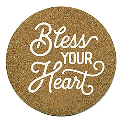 Bless Your Heart Coaster Set Cork 3.75 Inch Coasters - 2 Texas Coasters Texas Gift