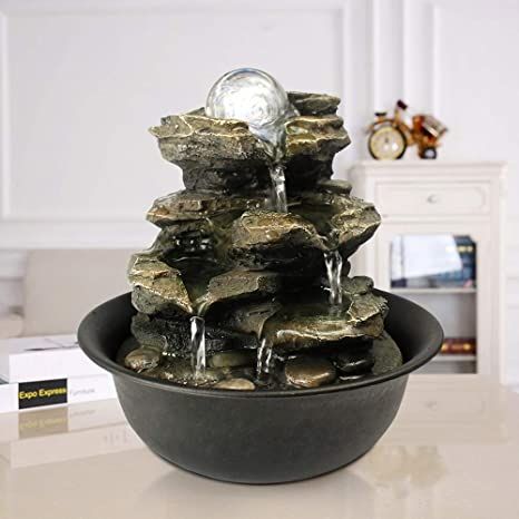 Amazon Com Xpiyaer 8 3 High 4 Tier Cascading Rock Falls Tabletop Water Fountain With Led Light Spinning Ball Indoor Small Waterfall Feature For Office Home And Bedroom Desktop Decor Home Kitchen