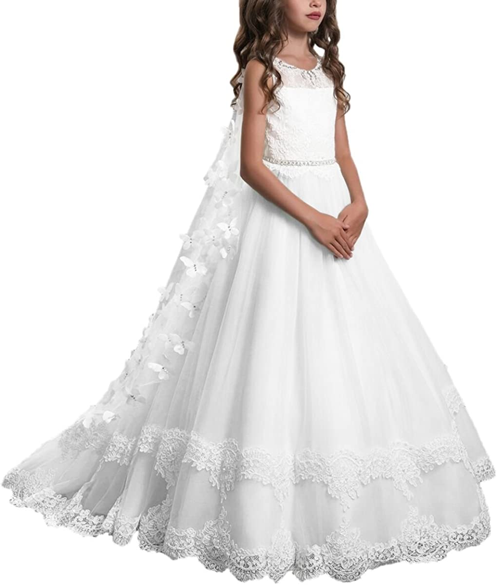 Amazon Com Plwedding Lace Flower Girls Dresses Kids First Communion Dress Princess Wedding Pageant Ball Gown Clothing