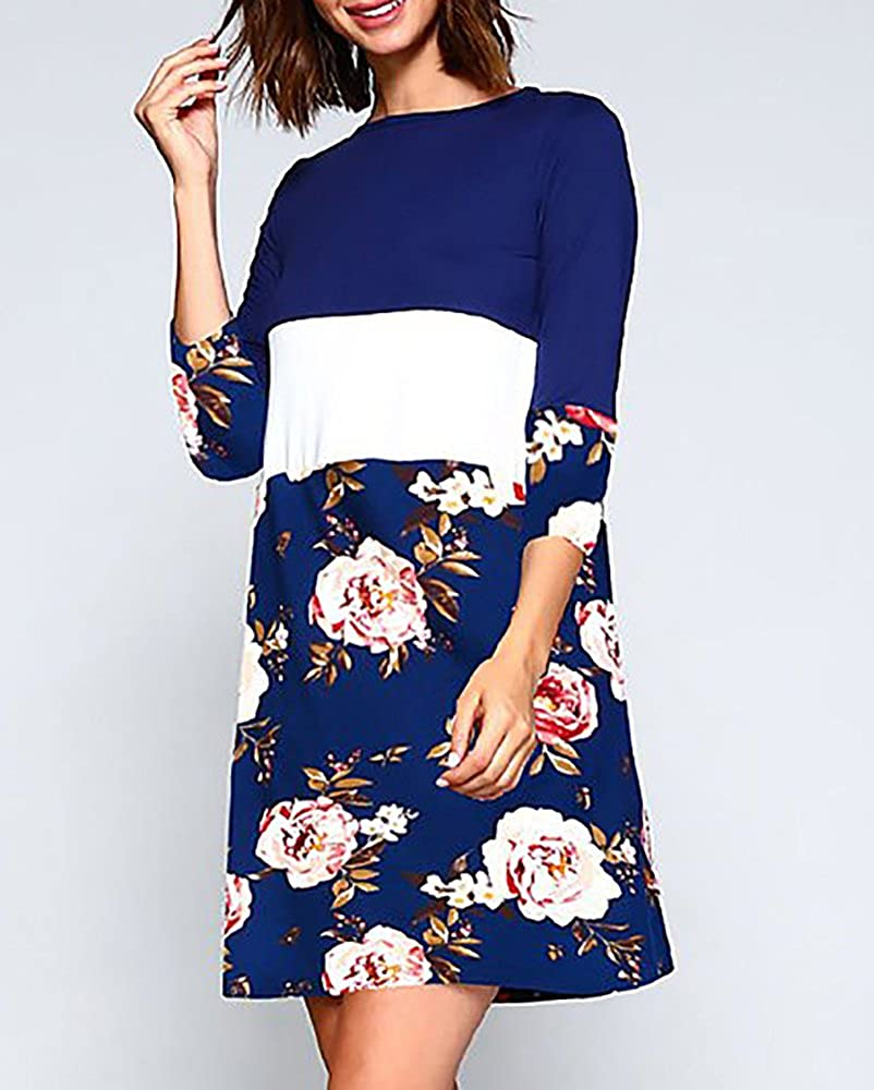94a547f7df Yacooh Womens 3/4 Sleeve Midi Swing Dresses Floral Patchwork Casual Chic  Dress at Amazon Women's Clothing store: