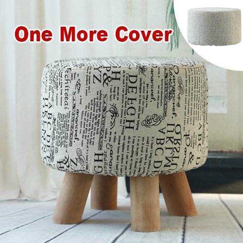 Sino Banyan Feet Stool with 1 More Cover,Soft Quick Detachable Cushion,Beige & Letter by Sino Banyan