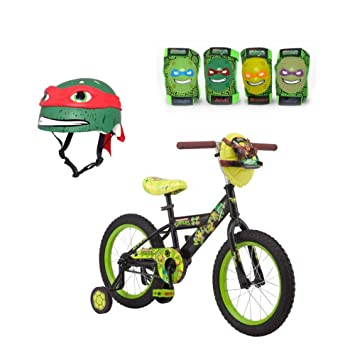 1900356238b Teenage Mutant Ninja Turtles 16 Inch Boy's Bike With Matching TMNT Raphael  Helmet, TMNT Elbow