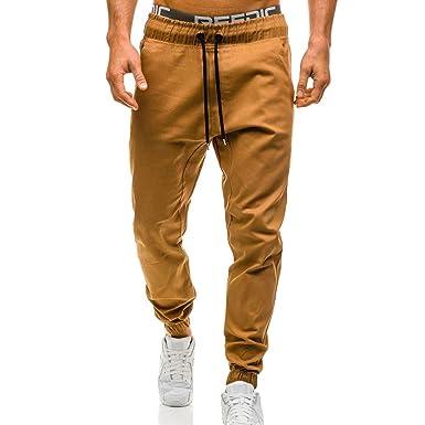 Msliy Pantalones Casuales Elasticos Largos para Hombre, Pantalón ...
