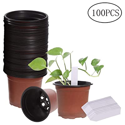 "OUNONA 100 PCS 4"" Plastic Plant Nursery Pot Seedlings Flower Pots with 100 PCS Waterproof Plastic Plants Tags: Garden & Outdoor"