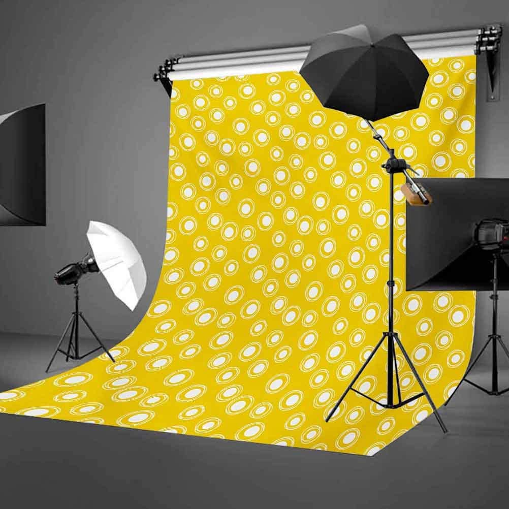 Yellow and White 10x12 FT Photo Backdrops,White Round Spots with Sketchy Circles Randomly Placed on Yellow Background for Photography Kids Adult Photo Booth Video Shoot Vinyl Studio Props