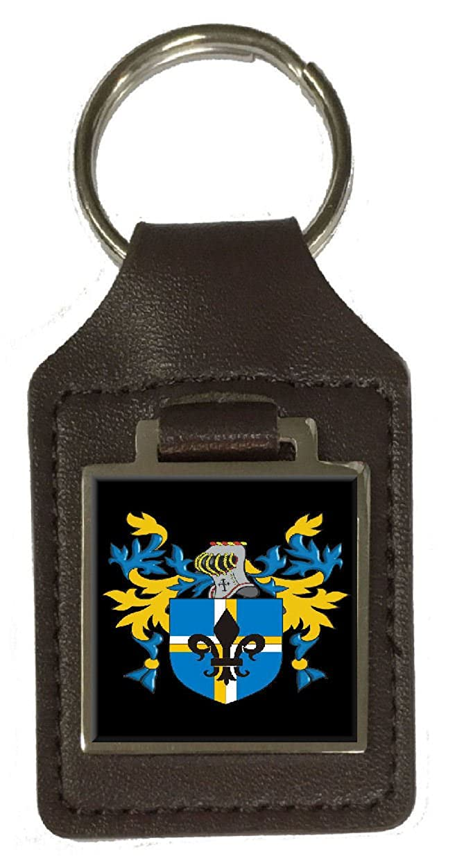 Kirk Heraldry Surname Coat Of Arms Brown Leather Keyring Engraved