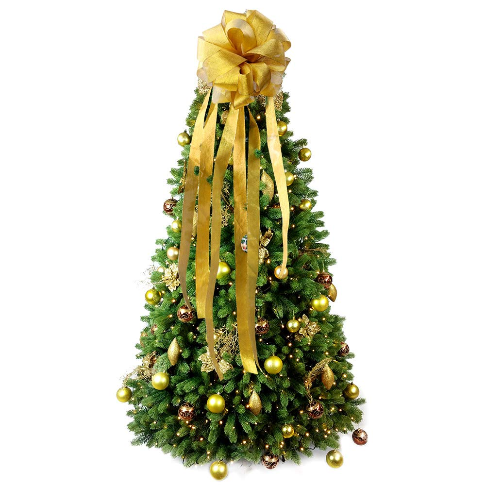 Wmbetter Christmas Tree Bow Topper Large Diy Christmas Tree Topper With Streamer Gold Edge Christmas Wreath Bow For Christmas Decoration Gold