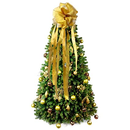 Wmbetter Christmas Tree Bow Topper Large DIY Christmas Tree Topper with Streamer Gold Edge, Christmas Wreath Bow for Christmas Decoration (Gold) best Christmas tree toppers