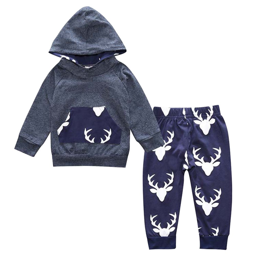 24M,Blue Spring Autumn Baby Clothes Toddler Kids Boy Girl Deer Hooded Tops Pants 2pcs Outfits Children Clothing Set 0-5Y