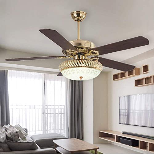 RainierLight Ceiling Fan Lamp 52 Inch 5 Wood Blades LED Dimmable Light Yellow,Warm,White Light Remote Control for Indoor Bedroom Living Room Mute Energy Saving Fan Home Decoration