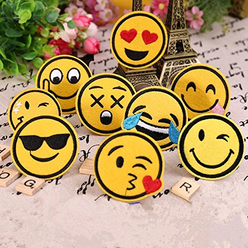 9pcs Dia 6cm Diy Embroidered Emoji Patches Lot Kids Cartoon Motif Patch Smile Face Iron On Applique For Cloth Stickers