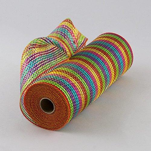 10 Inch x 30 Feet Deco Poly Mesh Ribbon (Bright Multi Color) : ()