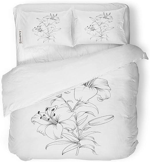 Lily Blossom 100/% Cotton Bedding Set 1 Duvet Cover 2 Pillow Shams  Queen//King