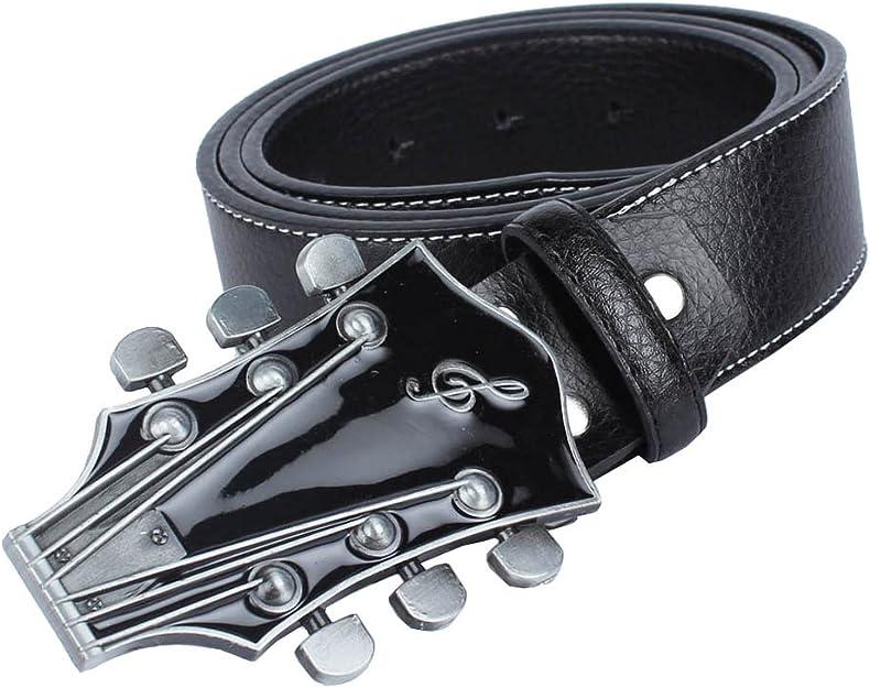 Schwarz Damen Gürtel Nietengürtel Musik Gitarre Schnalle Punk Partygürtel